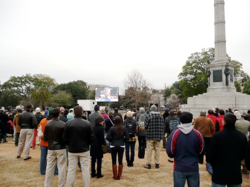 Charlestonians Watch Inauguration in Marion Square.