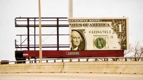 Shot of billboard taken from onramp ledge.