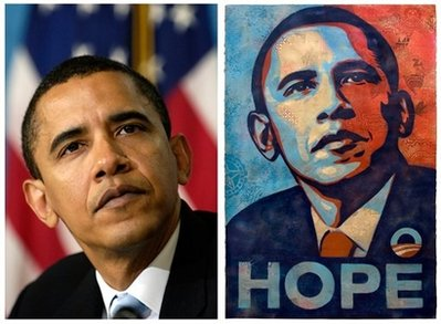 AP - A poster of President Barack Obama, right, by artist Shepard Fairey is shown for comparison with this April 27, 2006 file photo of then-Sen. Barack Obama.